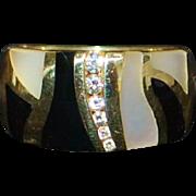 14K Inlaid MOP, Black Onyx and Diamond Cigar Band Ring - 1980's