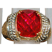 14K 7ct Fancy Cut Ruby Ring