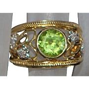 14k 2ct Peridot and Diamond Ring - 1980's