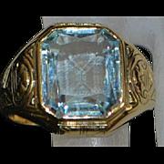 14k Large Man's 5 ct Aquamarine Signet Ring - 1920's
