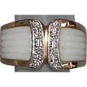 14K White Coral and Diamond Ring - 1980's