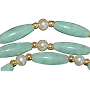 14K Jade, Cultured Pearls  and Gold Beads Necklace - 1970's