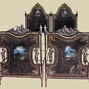 Pair of Handpainted Napoleon Tole Beds