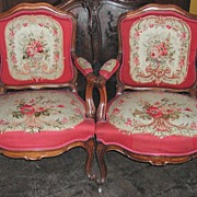 Beautiful Pair of 19th Century French Tapestry Arm Chairs