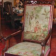 Beautiful Louis XIII Walnut Tapestry Armchair
