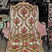 Gorgeous Louis XV Bergere Chair & Ottoman