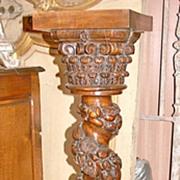 French Walnut Carved Pedestal