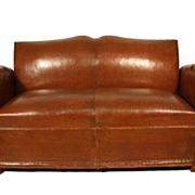 Art Deco Style Leather Loveseat