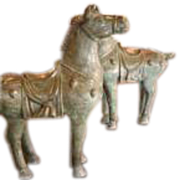 Pair of Bronze Tang Horses