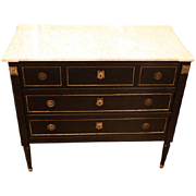 Ebonized French Marble Top Commode