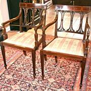 Pair of Inlaid Mahogany Regency Armchairs