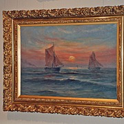 """Serene Oil on Canvas """"Seascape with Sailboats"""" Signed"""