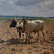 Pastoral Oil On Canvas, Jules Montigny