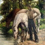 """""""Watering the Horses"""", Ernest Faut"""