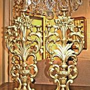 Pair of French Gilt Altar Candlesticks