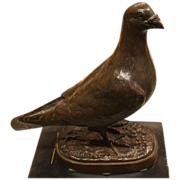 SOLD Signed Bronze Pigeon Statue - Pierre Albert LAPLANCHE