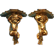 SOLD Pair of Italian Putti Giltwood Wall Brackets