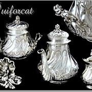 SOLD PUIFORCAT :  Antique French Sterling Teapot  Set - Louis XV  Rocaille