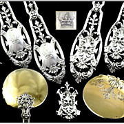 SOLD Puiforcat -Renaissance, French Sterling Silver & Vermeil 12 Ice-Cream Spoons with Mascaro