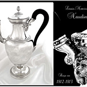 SOLD Antique French Sterling Silver Important Coffee Pot with Ram and Mascarons- LN Naudin 181