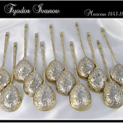 SOLD Antique Russian Sterling Silver & Vermeil Caviar Spoons Fyodor Ivanov Moscow