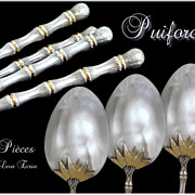 SOLD PUIFORCAT . French Sterling Silver Moka Spoons. Rare model Bamboo 12 p.