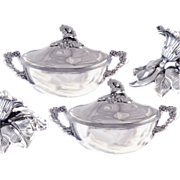 SOLD VEYRAT Antique French Sterling Silver Pair of Vegetable dishes Early 19th c.