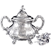 SOLD Antique French Sterling Silver Sugar Bowl Napoleon III- MartialFray Paris.