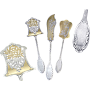 SALE PENDING Antique French Sterling Silver & Vermeil Hors-d'Oeuvre Serving set - Louis XV