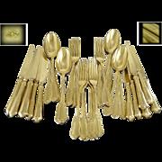 SOLD KELLER -  Somptuous Antique French Sterling Silver and Vermeil Dessert Flatware Set-  36