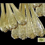 SOLD E. Puiforcat - Elysée Pattern -French Sterling Silver vermeil Dinner Flatware Set Regenc