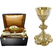 SOLD Gothic Style - Antique French Sterling Silver & Vermeil Chalice & its Paten With Box