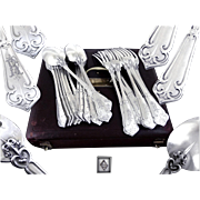 "Henri SOUFFLOT - Rare Antique French  Sterling Silver ""Fer de Lance"" Dinner Flatware"