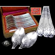 """PUIFORCAT - Neo Gothic - Antique French Sterling Silver Dessert / Tea Spoons """"Fer de Lanc"""