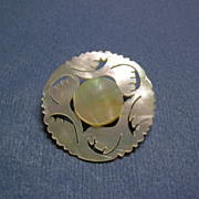 Bethlehem Hand Carved Round Flower Mother of Pearl Pin