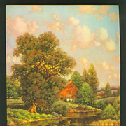 Vintage George W. Drew Calendar Print - River House