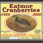 Cranberry Crate Label New Jersey Quail Brand