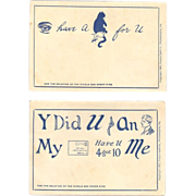 Riddle Postcard Pair - Puzzle Card Co - Undivided Back