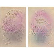 Embossed and Gilded Easter Greeting Postcard Pair
