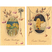 SOLD Embossed Gilded Easter Greetings Postcard Pair - Chicks and Pussy Willows