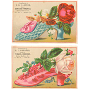 Victorian Advertising Trade Cards - Roses & Shoes - R. D. Gardner - Adams, NY