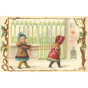 Victorian Christmas Advertising Trade Card - Girls Playing In Snow on Sample Stock Card