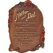 Syroco Wood Decorative Plaque - Mother and Dad