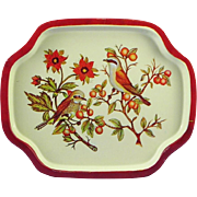 Lithographed Tin Snack Tip Tray - Brown Birds - circa 1960