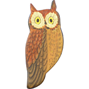 Harry Shourds Hand Carved & Painted Owl Pin Brooch