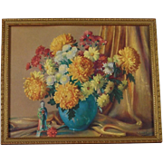 Chrysanthemum Still Life Print by M. Gernand - 1950's