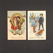 Vintage New Year Greetings Postcard Pair