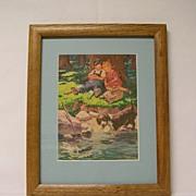Framed Humorous Stuart Calendar Print of Children Fishing