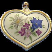 Vintage Rosenthal Porcelain Floral Heart Pendant
