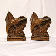Syroco Wood/Orna Wood Leaping Sailfish Book Ends